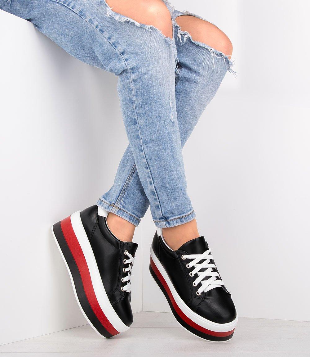f1da7b3a8783e8 Buty sportowe damskie Ideal Shoes U-6273 Czarne - twojeobuwie.pl