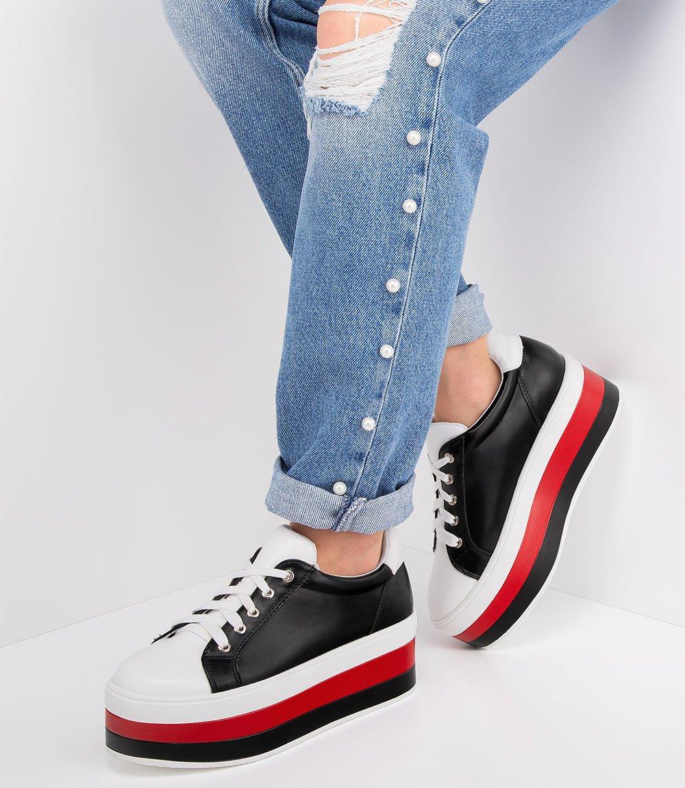 ad432db90c6cf9 Buty sportowe damskie Ideal Shoes U-6273 Czarno-Białe Kliknij, aby  powiększyć ...