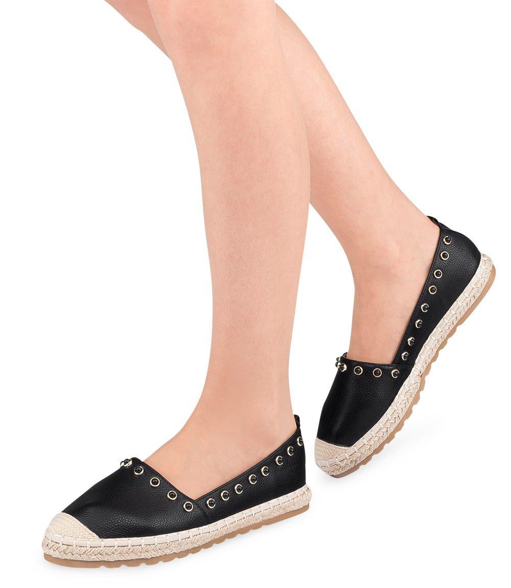81e13009 Espadryle damskie Ideal Shoes H-6556 Czarne - twojeobuwie.pl