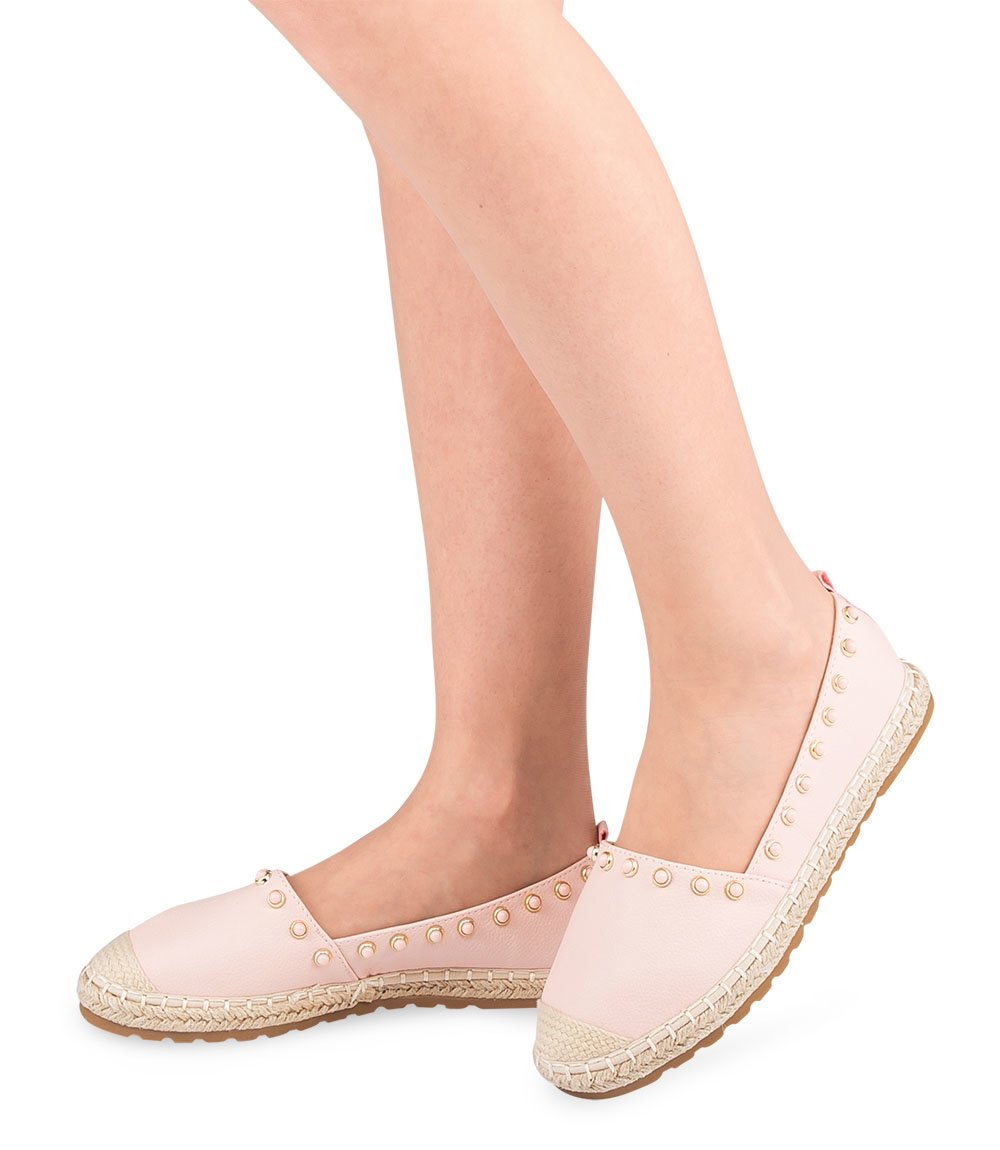 Espadryle damskie Ideal Shoes H-6556 Różowe