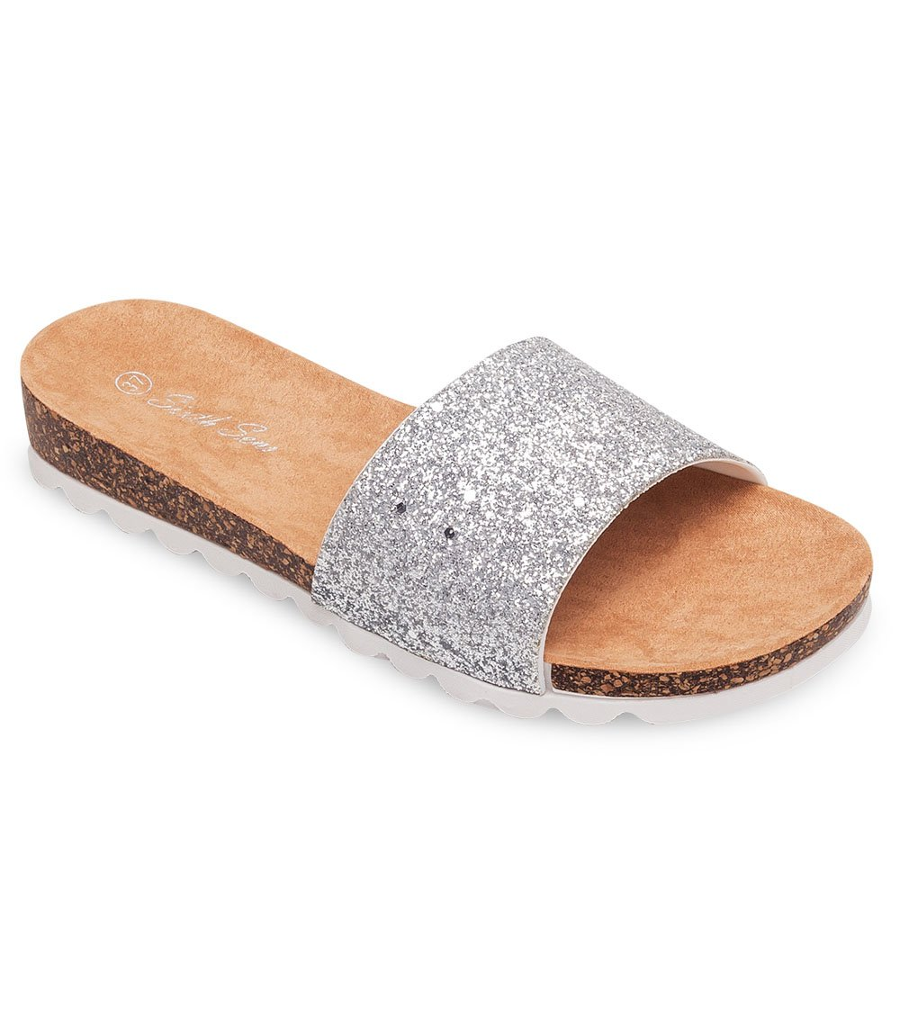 klapki na korku srebrne